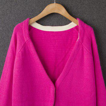 Ladylike Candy Color Plonging Neck Cardigan double à manches longues pour femmes - Rose Rouge ONE SIZE(FIT SIZE XS TO M)