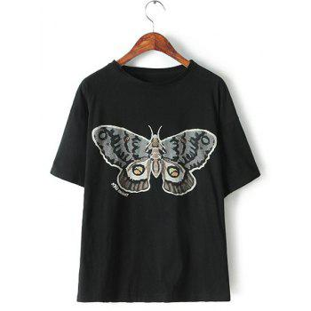 Jewel Neck Butterfly Print Casual Style Short Sleeve T-Shirt For Women