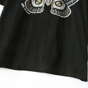 Jewel Neck Butterfly Print Casual Style Short Sleeve T-Shirt For Women - BLACK BLACK