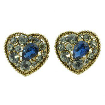 Pair of Sweet Ethnic Women's Rhinestone Heart Shape Design Earrings