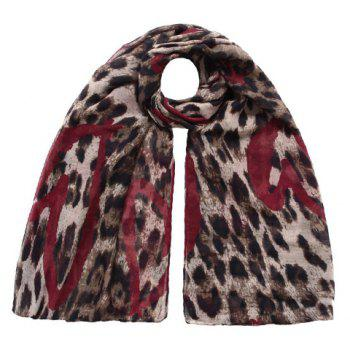 Chic Heart Splice Leopard Print Color Block Women's Voile Scarf