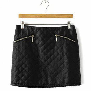 Argyle PU Leather Casual Style Zipper Fly Skirt For Women - BLACK BLACK