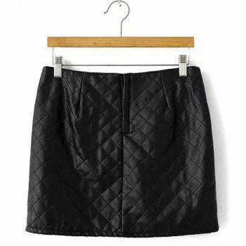 Argyle PU Leather Casual Style Zipper Fly Skirt For Women - L L