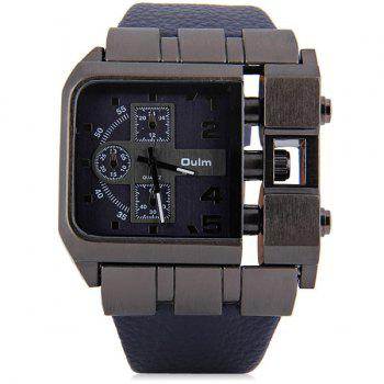 Oulm 3364 Male Quartz Watch with Square Dial Leather Watchband - BROWN