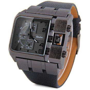 Oulm 3364 Male Quartz Watch with Square Dial Leather Watchband - BLACK BLACK