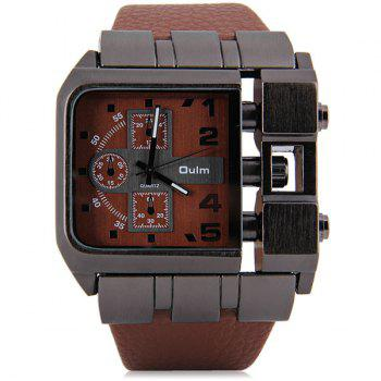 Oulm 3364 Male Quartz Watch with Square Dial Leather Watchband -  BLACK