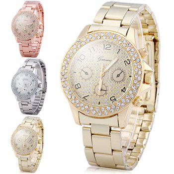 Geneva Diamond Decorative Sub-dials Quartz Watch Stainless Steel Band for Women - SILVER