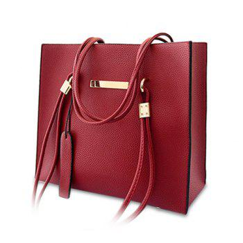 Elegant Solid Color and Metallic Design Shoulder Bag For Women