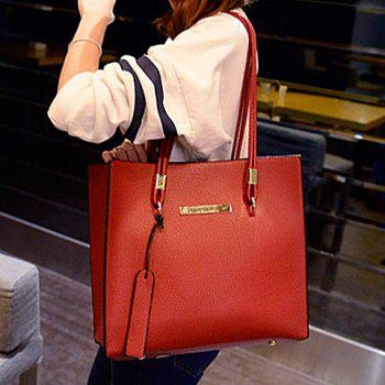Elegant Solid Color and Metallic Design Shoulder Bag For Women - WINE RED