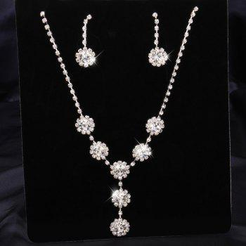 A Suit of Rhinestone Flower Necklace and Earrings - WHITE WHITE