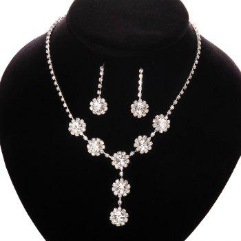 A Suit of Rhinestone Flower Necklace and Earrings -  WHITE