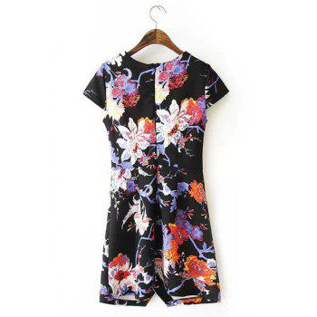 Jewel Neck Floral Print Slit Casual Style Short Sleeve Dress For Women - S S