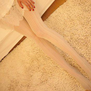 Fashionable Lace and Striped Pattern Solid Color Pantyhose For Women - WHITE WHITE