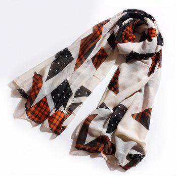 Fashionable Polka Dot Plaid Striped Print Voile Scarf For Women