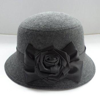Chic Side Flower Shape Embellished Women's Felt Bucket Hat