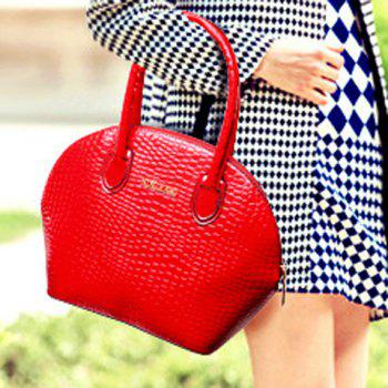 Stylish Crocodile Print and Zip Design Tote Bag For Women - RED