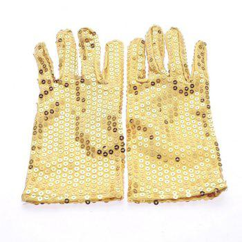 Pair of Chic Sequins Embellished Pure Color Gloves For Men and Women