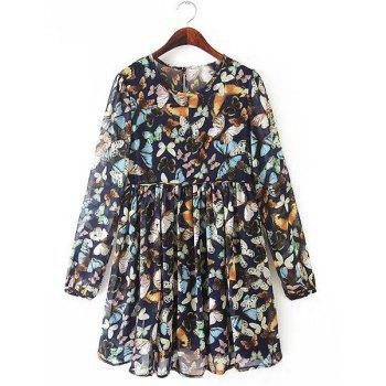 Refreshing Butterfly Print Round Collar Long Sleeve Pleated Dress For Women