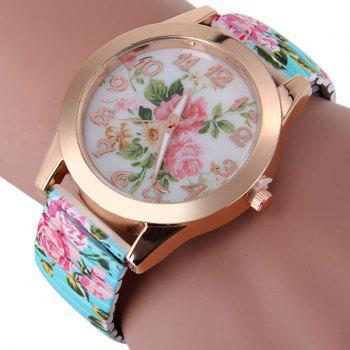 Female Peony Design Quartz Watch Analog Round Dial and Elastic Strap