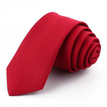Chic 5 CM Wide Design Solid Color Men's Tie - WINE RED WINE RED
