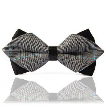 Chic Stripe Splice Design Double-Deck Men's Bow Tie - BLACK AND GREY BLACK/GREY