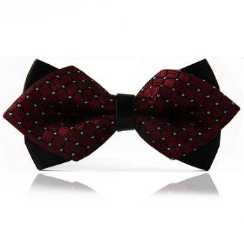 Chic Checked Pattern Design Double-Deck Men's Bow Tie - WINE RED WITH BLACK WINE RED/BLACK