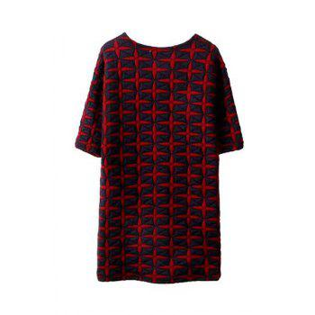 Elegant Geometrical Pattern Round Collar Half Sleeve Dress For Women - L L