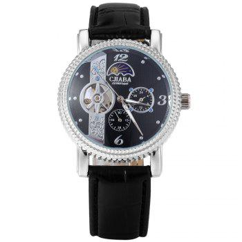 CJIABA Luxury Tourbillon Automatic Mechanical Water-resistant Men's Military Watch Leather Band -  BLACK