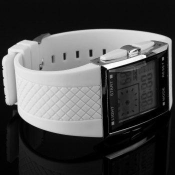 LED Watch Dual Shows Day Date Alarm Stopwatch Rubber Strap Rectangle Dial - WHITE