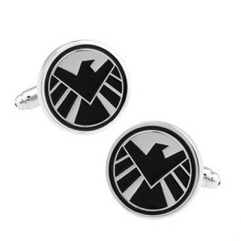 Pair of Fashionable Aegis Bureau Icon Design Cufflinks For Men - COLORMIX COLORMIX
