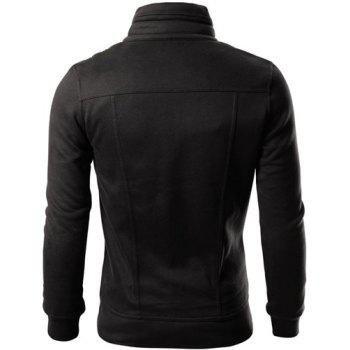 Fashion Pocket and Button Design Turndown Collar Long Sleeve Slimming Men's Polyester Sweatshirt - BLACK M