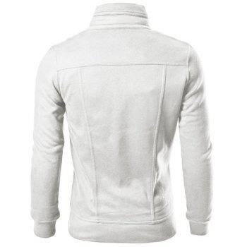 Fashion Pocket and Button Design Turndown Collar Long Sleeve Slimming Men's Polyester Sweatshirt - WHITE WHITE