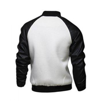 Fashion Large Pocket Color Splicing Stand Collar Long Sleeve Slimming Men's Polyester Jacket - WHITE WHITE