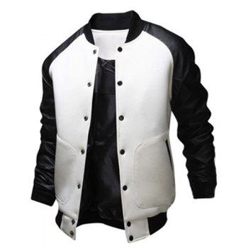 Fashion Large Pocket Color Splicing Stand Collar Long Sleeve Slimming Men's Polyester Jacket