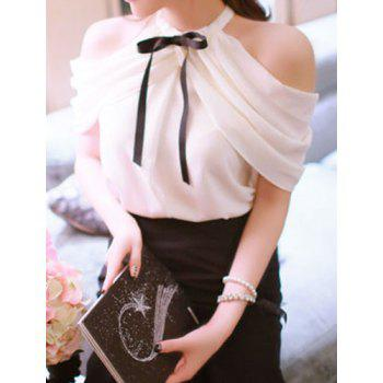 Sweet Bow Tie Collar Short Sleeve Solid Color Off-The-Shoulder Women's Blouse