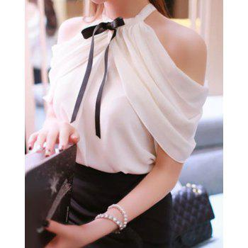 Sweet Bow Tie Collar Short Sleeve Solid Color Off-The-Shoulder Women's Blouse - ONE SIZE(FIT SIZE XS TO M) ONE SIZE(FIT SIZE XS TO M)