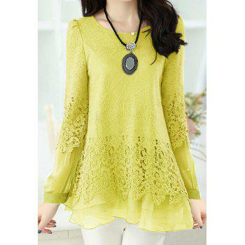 Women's Sweet Scoop Neck Lace Splicing Long Sleeve T-Shirt