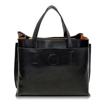 Retro Solid Color and Stitching Design Tote Bag For Women - BLACK BLACK