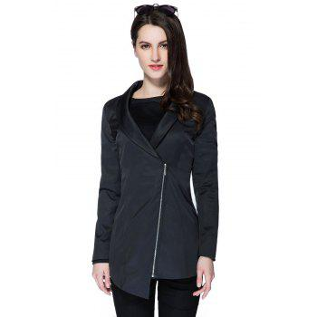 Fashionable Plunging Neck Long Sleeve Solid Color Zipper Design Women's Coat