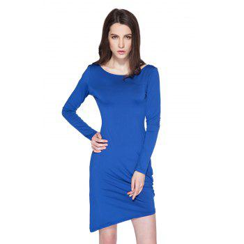 Simple Style Boat Neck Long Sleeve Solid Color Backless Women's Bodycon Dress - SAPPHIRE BLUE S