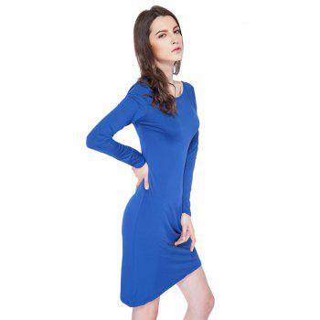 Simple Style Boat Neck Long Sleeve Solid Color Backless Women's Bodycon Dress - SAPPHIRE BLUE SAPPHIRE BLUE