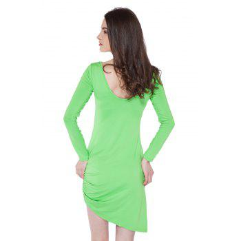 Simple Style Boat Neck Long Sleeve Solid Color Backless Women's Bodycon Dress - M M