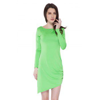 Simple Style Boat Neck Long Sleeve Solid Color Backless Women's Bodycon Dress - GREEN GREEN