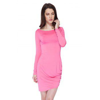 Simple Style Boat Neck Long Sleeve Solid Color Backless Women's Bodycon Dress - PLUM PLUM