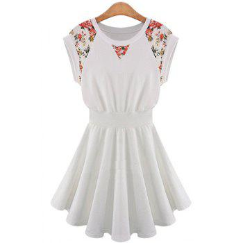 Ladylike Style Jewel Neck Floral Print Lace Splicing A-Line Women's Dress