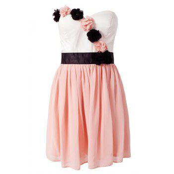 Sweet Style Strapless Color Block Stereo Flower Women's Dress