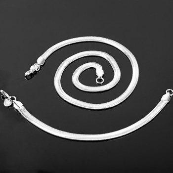 Fashion 925 Silver Plated Snake Style Bracelet + Necklace Kit for Female Jewelry - SILVER SILVER