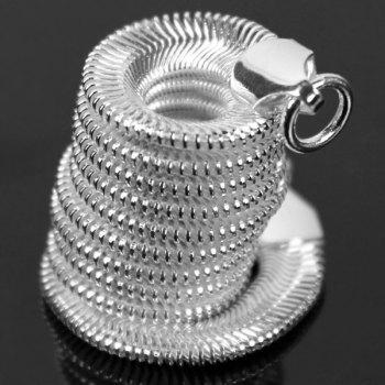 Fashion 925 Silver Plated Snake Style Bracelet + Necklace Kit for Female Jewelry - SILVER