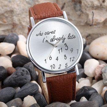 Words and Numbers Dial Leather Band Lady Quartz Wrist Watch