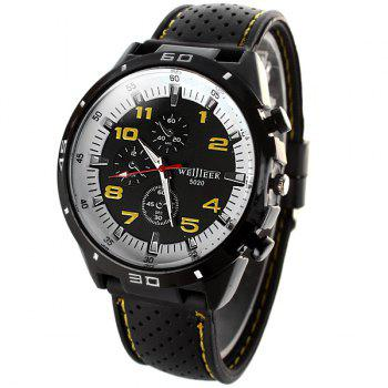 Weijieer 5020 Male Quartz Watch Round Dial Rubber Strap Non-functioning Sub-dials - RED